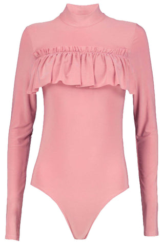 Turtle Neck Frill Bodysuit Soft Shiny Top - The Celebrity Fashion