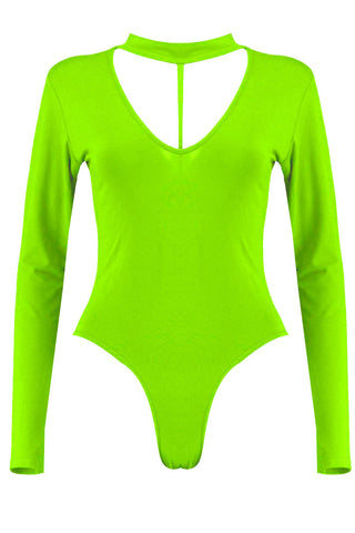 Long Sleeve Bodysuit Choker Strap Neck Slim Fit Leotard Top - The Celebrity Fashion