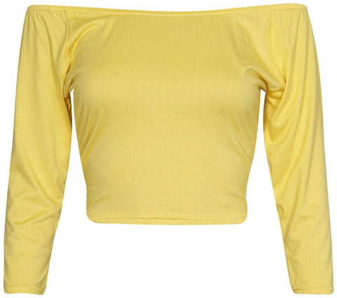 Off Shoulder Crop Tops Long Sleeve Blouse - The Celebrity Fashion