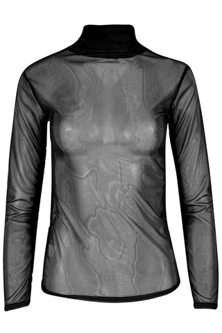 Mesh High Turtle Polo Neck Sheer Long Sleeve See Through Top - The Celebrity Fashion
