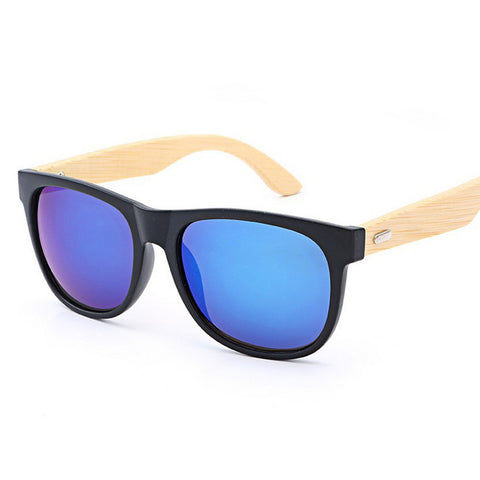 Bamboo Dark Wood Temples Square Wooden  Mens Womens Sunglasses UV400