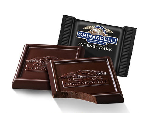 Indulge in the 86% Ghirardelli Midnight Reverie and you will experience an unrivalled intense chocolate hit. Perfect as gifts or for parties. Available in the UK. For lovers of serious dark chocolate.