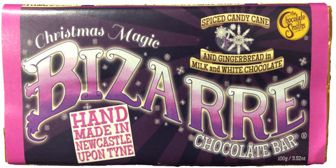 Christmas Magic Gingerbread, Candy Cane in Milk & White Chocolate Bizarre Bar - 100g