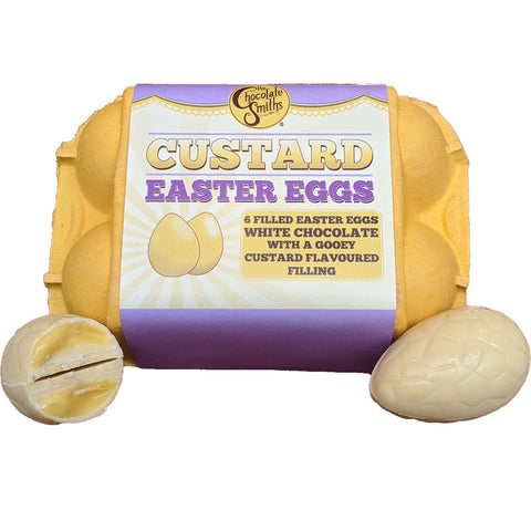 Chocolate Smiths Custard & White Chocolate Easter Eggs in Egg Box (6)