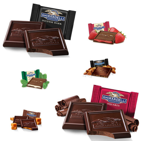 Each bag contains 10 different varieties of dark chocolate Ghirardelli Squares... Dark Mint, Dark Raspberry, Dark Caramel, Dark Salted Caramel, Dark Bourbon Caramel, 60% Dark, Intense 60% Dark Evening Dream, Intense 72% Dark Twilight Delight, Intense 86% Dark Midnight Reverie and Intense Dark Chocolate Sea Salt & Roasted Almonds!