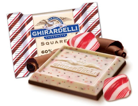 Ghirardelli Peppermint Bark dark chocolate squares are a limited edition seasonal USA range and offer a wonderful creamy and minty taste. They are combined with crunchy peppermint flakes and are melt in the mouth delicious! Seasonal flavour available for a limited time only! Available in the UK