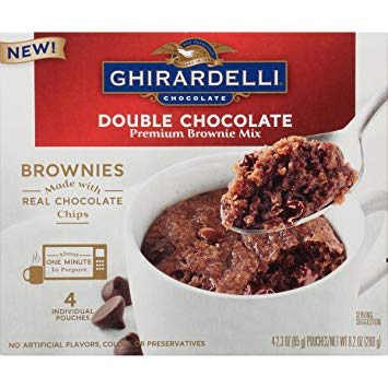 Ghirardelli Double Chocolate Brownie Microwave Mug Mixes (4 pack)