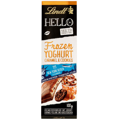 Lindt Hello Frozen Yoghurt Caramel & Cookies Milk Chocolate Bar (100g)