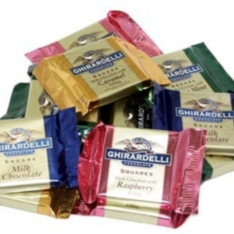 A great selection bag of 10 different flavours of Ghirardelli chocolate filled squares. This collection features Milk Chocolate Caramel, Intense Dark Chocolate Almond & Sea Salt, Milk Chocolate, Dark Chocolate Raspberry, Dark Chocolate Bourbon Caramel, Dark Salted Caramel, 60% Dark Chocolate, Milk Chocolate Sea Salt Brownie, 72% Intense Dark Chocolate & 86% Dark Chocolate Midnight Reverie! Great gift for a chocolate lover of a brand not available to the UK market!