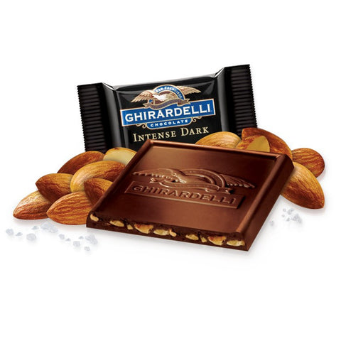 A complex dark chocolate square from Ghirardelli, bursting with sea salt and roasted almonds. Perfect as a gift and for parties. Available in the UK. A dark chocolate treat with surprises.