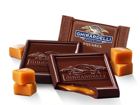 Luxurious, velvety dark chocolate surrounding delicious, buttery caramel, the Ghirardelli Caramel Dark Chocolate Square delivers intensity and mouthwatering sweetness. Perfect as gifts and for parties. Available in the UK.