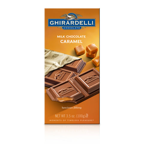 Caramel Ghirardelli 100g Milk Chocolate bar. Imported from the USA and ready for immediate dipatch from the UK!