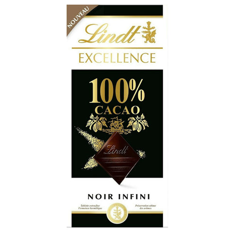 Lindt Excellence 100% Cacao Dark Chocolate - 50g Bar