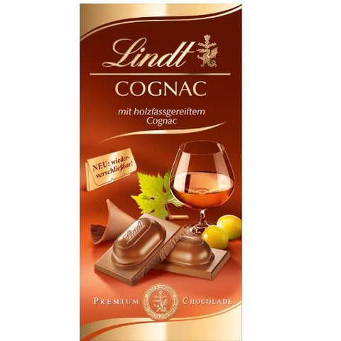 Lindt - Cognac Milk Chocolate - 100g Bar