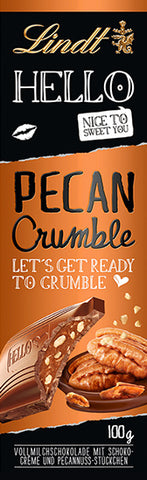 Lindt Hello Pecan Crumble Milk Chocolate 100g Bar