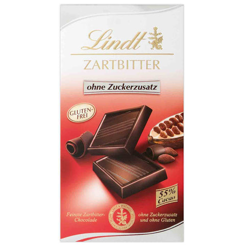 Lindt Dark Chocolate - 100g Bar - No Added Sugar Gluten Free