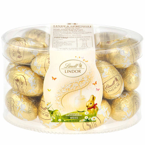 Lindt Lindor White Chocolate Easter Eggs (Approx 25 eggs 450g)