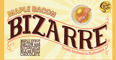 Bacon flavoured milk chocolate with maple syrup white chocolate and a hint of butterscotch and salt! Bizarre but really tasty if you like a salted chocolate. The perfect Christmas stocking filler.