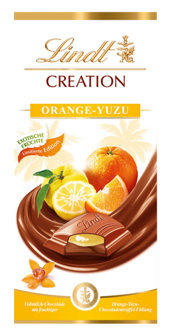 Lindt Creation Orange Yuzu Milk Chocolate Bar (150g) Best Before End Dec 19