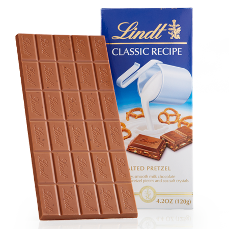 Lindt Classic Recipe - Salted Pretzel Milk Chocolate - 120g Bar