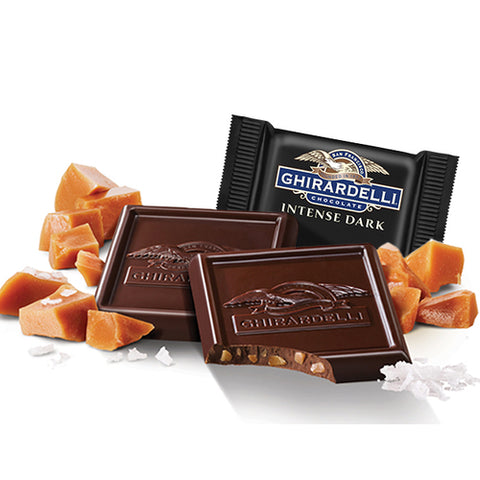 Damaged Salted Caramel Crunch Dark Chocolate Ghirardelli Squares (10)