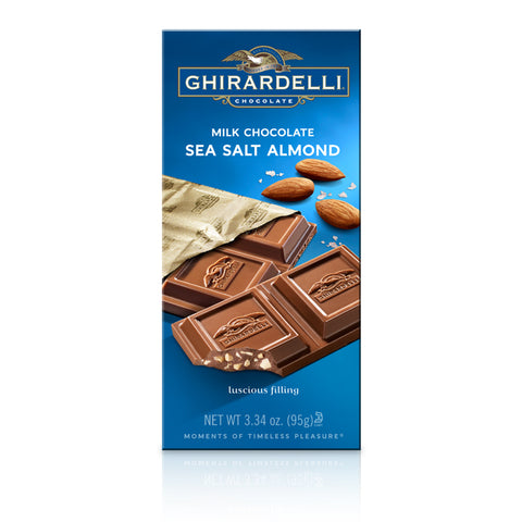Ghirardelli Sea Salt Almond Milk Chocolate Bar (100g) Best Before End Dec 19