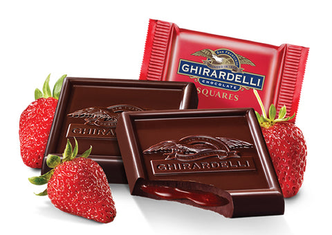 Damaged Strawberry Dark Chocolate Ghirardelli Squares (10)