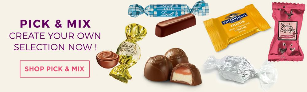 Lindt Lindor, Ghirardelli, Godiva & Monty Bojangles, Dan's chocolates,  Pick and Mix