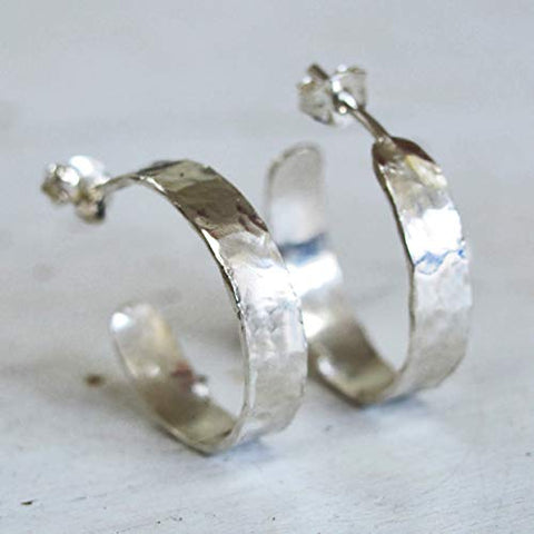 Open Hoop Earrings with post Sterling Silver Hammered Wide 5mm Wrap Hoops for Women