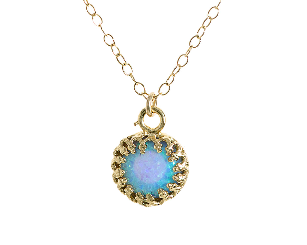 Gold Opal Necklace Blue Opal Pendant 14K gold Filled Chain