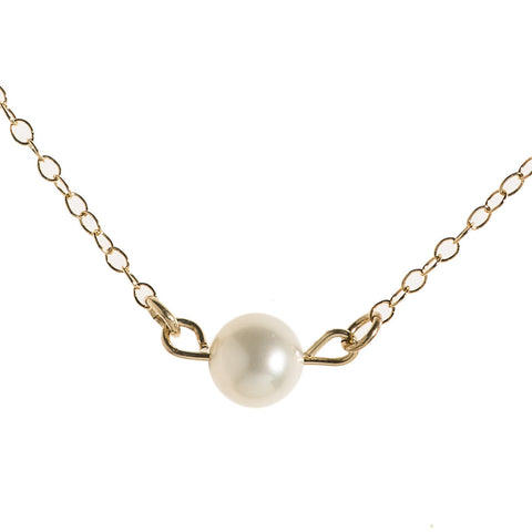 Gold pearl necklace freshwater Single pearl charm