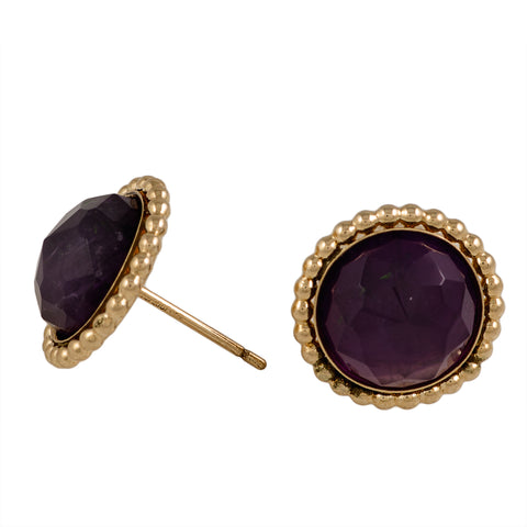 Gold filled Genuine Amethyst Stud Earrings
