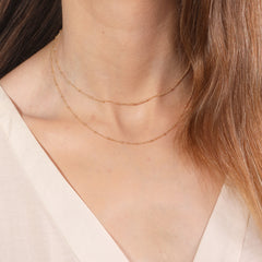 "Dainty Double Chain Layered Necklace Women Choker Satellite Handmade Gold Jewelry 16""+extension"