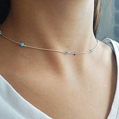 Sterling Silver 3mm Created Opal Beads Choker Necklace for Women Girls