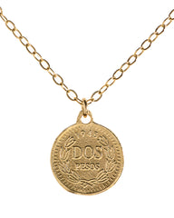 Gold Vintage Coin Pendant Jewelry 14k Gold Filled Chain