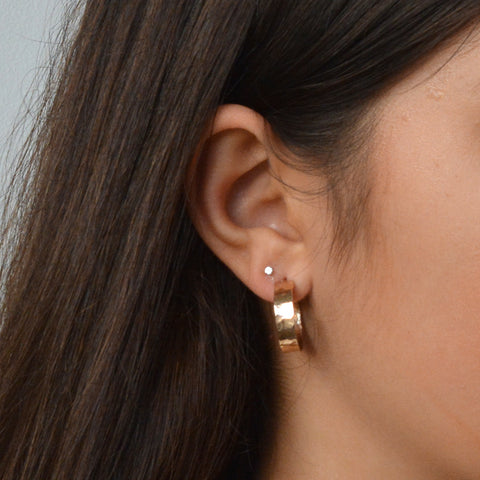 14k Gold Filled Open Hoop Earrings with post Hammered Wide 5mm Wrap Hoops for Women