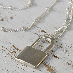 Silver Lock Pendant Necklace