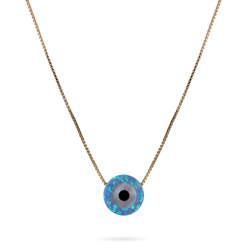 Opal Evil Eye Necklace 14K Gold Filled