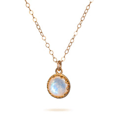 Moonstone Pendant Necklace Rose Gold Filled 8 mm June Birthstone Necklace