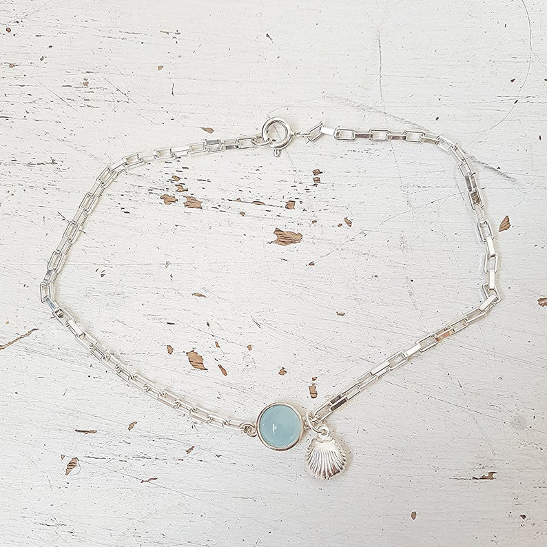 Sterling Silver Aquamarine and Shell Anklet