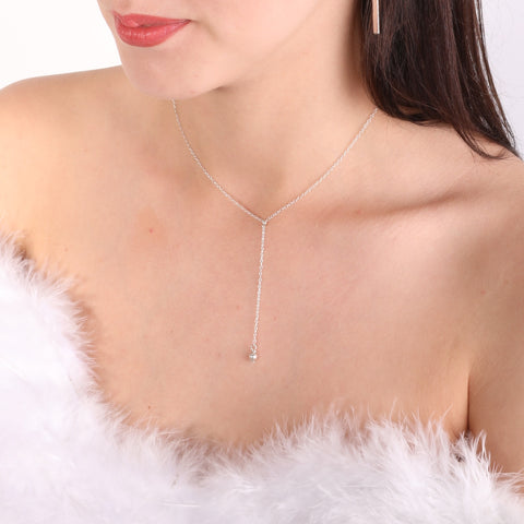 Silver Lariat necklace,Y necklace