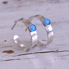 Open Hoop Earrings 4mm Blue Opal 925 Sterling Silver Hammered Hoops for women