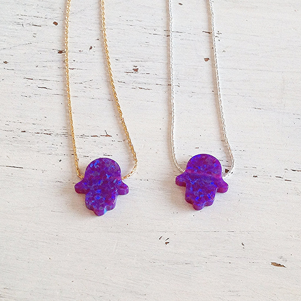 Purple Opal Hamsa Necklace