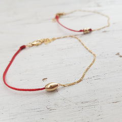 Red String Bracelet, Gold filled chain and Red string Minimalist Bracelet