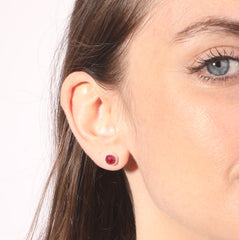Sterling Silver Ruby Stud Earrings July birthstone Natural 6mm Red stone studs for women jewelry