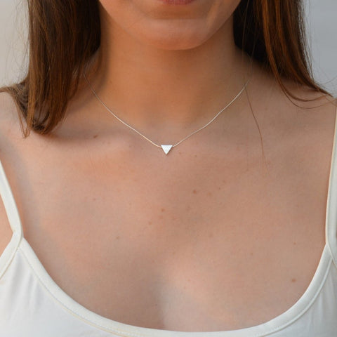 Triangle Pendant Chain Necklace Sterling Silver