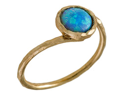Blue gold opal ring
