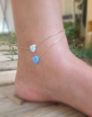 Gold blue Opal Heart Anklet