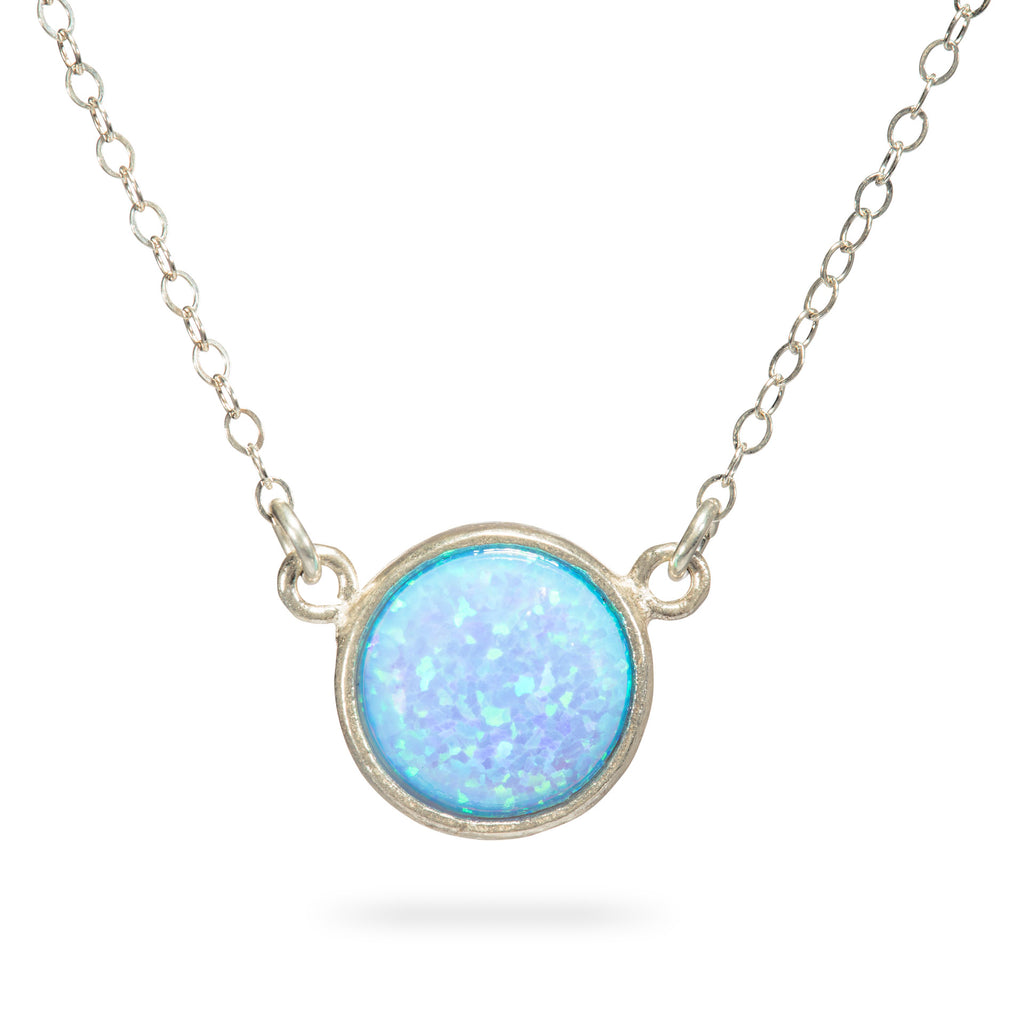 Blue Opal Pendant Necklace Sterling Silver Gemstone Circle 10mm Opal Pendant