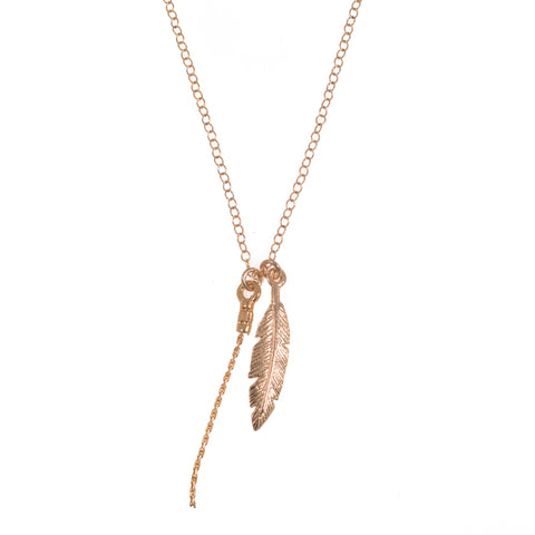 Feather necklace 14k Gold filled Chain Feather Pendant Necklace